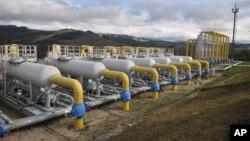 Pemandangan stasiun gas Volovets di bagian barat Ukraina, 7 Oktober 2015.