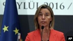 Federica Mogherini, jefe de política exterior de la Unión Europea, instó averiguar qué pasó en realidad en las elecciones de gobernador el domingo 15 de octubre en Venezuela. Foto de archivo.