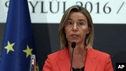 Jefa de la diplomacia europea, Federica Mogherini. La lista de la UE en materia de terrorismo incluye personas o grupos que actúan dentro o fuera del territorio de la Unión.