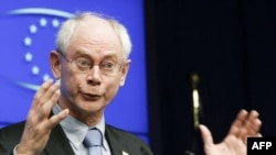 Predsednik Evropskog saveta Herman van Rompuj na konferenciji za novinare tokom samita EU, Brisel, 25. mart 2011.