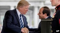 美国总统川普在白宫欢迎到访的埃及总统阿卜杜勒·法塔赫·塞西(2017年4月3日)