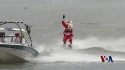 美国风情:滑水而来的圣诞老人