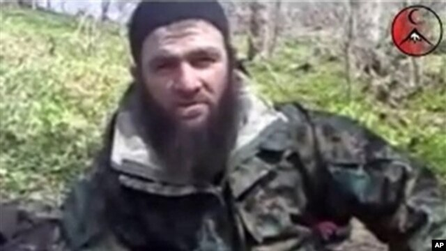 Screenshot from video posted on a pro-rebel Web site purports to show Chechen militant leader Doku Umarov, March 2010 file photo.