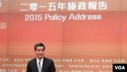 香港特首梁振英發表任內第三份施政報。(美國之音湯惠芸攝)