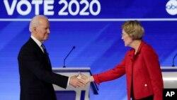Džozef Bajden i Elizabet Voren u debati na televiziji ABC, 7. februar 2020. (Foto: AP/Charles Krupa)
