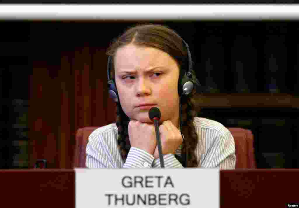 "Swedish teenage environmental activist Greta Thunberg visits the Senate in Rome, Italy. She is in Rome to headline April 19th ""school strike,"" the growing worldwide youth movement she spearheaded demanding faster action against climate change."