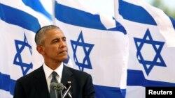 30일 이스라엘 예루살렘에서 열린 시몬 페레스 전 대통령 장례식에서, 바락 오바마 미국 대통령이 조사를 하고 있다.