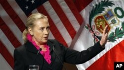 U.S Secretary of State Hillary Rodham Clinton speaks at a conference on women's empowerment in Lima, Peru, Tuesday, Oct. 16, 2012. Clinton arrived for the long-planned women's event in Lima Monday, after another weekend of criticism from Republicans over