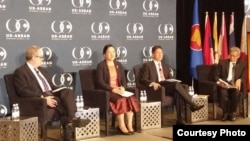 "Cambodan Commerce Minister Sun Chanthol participates in a panel discussion titled ""The Landscape of ASEAN in 2016 and the Vision for 2025"" in San Francisco, Wednesday, February 17, 2016. (Courtesy of Cambodian Ministry of Commerce's Facebook page)"