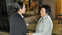 Kyrgyzstan President Roza Otunbayeva arrives at VOA headquarters