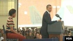 La última parada de la gira de Obama en Virginia, tuvo el impulso que le otorgó la presencia de la primera dama, Michelle Obama.