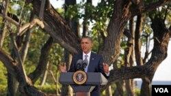 Prezidan Obama pran lapawòl dimanch nan fen somè peyi ki gen kòt sou Pasifik la –somè ki t ap dewoule nan Hawayi--