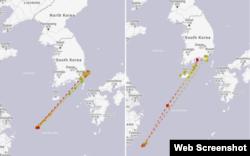루니스 호의 지난해 4~5월 항적(왼쪽)과 6~7월 항적. 동중국해와 타이완 북부 해상에 며칠 간 머문 뒤 다시 한국으로 되돌아간 모습이 확인된다. 자료제공=MarineTraffic