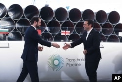 Greece's Prime Minister Alexis Tsipras, right, shake hands with Turkish Minister of Energy Berat Albayrak during the Trans-Adriatic Pipeline inauguration ceremony, in the northern Greek city of Thessaloniki, May 17, 2016.
