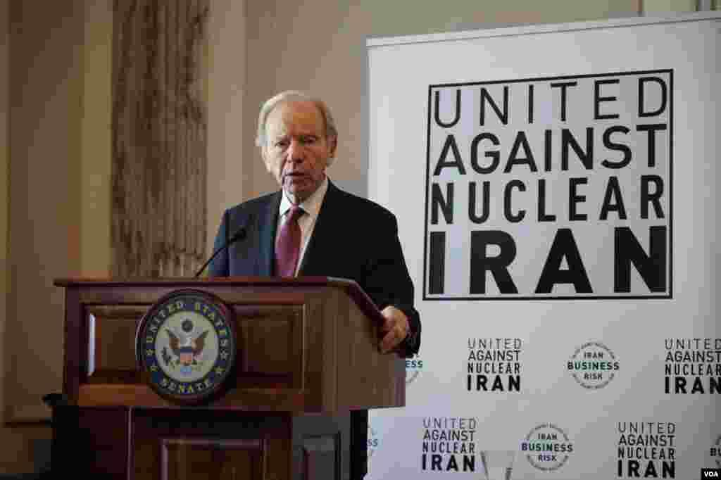 مراسم گروه اتحاد علیه ایران هستهای با سخنرانی سناتور پیشین جو لیبرمن آغاز شد. او گفت: رژیم ایران دست از گروگانگیری برنداشته و هنوز آمریکاییها در اسارت رژیم ایران هستند.