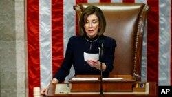 Chủ tịch Hạ viện Nancy Pelosi loan báo luận tội Tổng thống Donald Trump, ngày 18/12/2019.