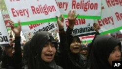 Демонстрация у посольства США в Бангкоке, Таиланд. 18 сентября 2012 г.