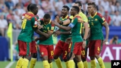 FILE: Cameroon players react during the Confederations Cup, Group B soccer match between Germany and Cameroon, at the Fisht Stadium in Sochi, Russia, Sunday, June 25, 2017.