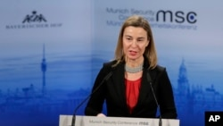 FILE - Federica Mogherini, High Representative of the European Union for Foreign Affairs and Security Policy delivers a speech at the Security Conference in Munich, Germany, Feb. 8, 2015.