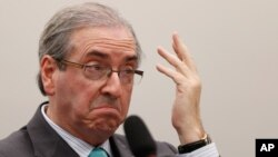 FILE - Eduardo Cunha, president of Brazil's Chamber of Deputies, says he's waiting for legal analysis of the prospect of impeaching President Dilma Rousseff.