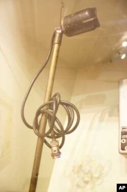 One of the primitive microphones used by Hugh Tracey during his fieldwork in Africa, on display at an exhibition in South Africa to pay tribute to him