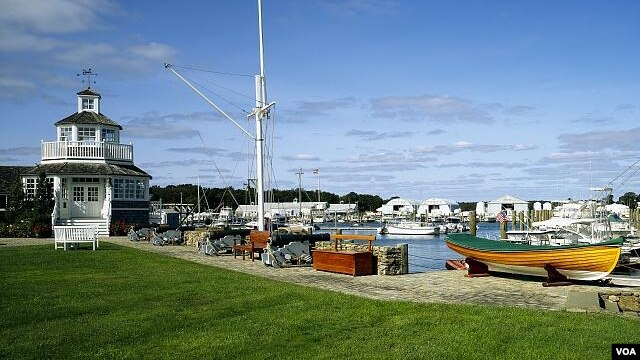 "This marina on Cape Cod has the whitewashed, relaxing ""look"" of New England. (Carol M. Highsmith)"