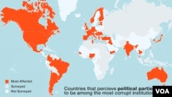 Globally, political parties are seen to be the most corrupt institution. Map via the 2013 Transparency International report.