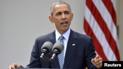 지난 2일 백악관에서 바락 오바마 미국 대통령이 이란과 핵 협상 결과를 발표하고 있다. (자료사진)