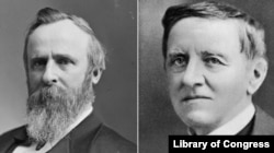 Rutherford B. Hayes (left) and Samuel J. Tilden.