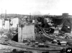 FILE - The Panama Canal is shown under construction in this view looking north at Gatun Upper Locks and Forebay in Panama on Feb. 1, 1911.