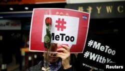 Gerakan #MeToo pada peringatan hari Perempuan Internasional di Seoul, Korea Selatan, 8 Maret 2018.