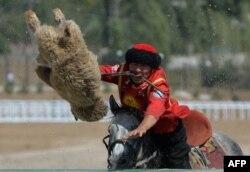 A Kyrgyz rider plays the traditional Central Asian sport Buzkashi also known as Kok-Boru or Oglak Tartis