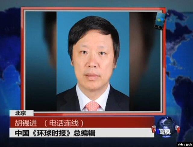 环球时报总编胡锡进2013年12月参加美国之音卫视节目(视频截图)