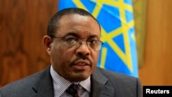 Ethiopian Prime Minister Hailemariam Desalegn speaks during an interview with Reuters inside his office in the capital Addis Ababa, October 10, 2013.