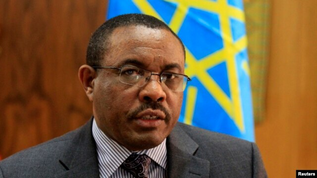 FILE - Ethiopian Prime Minister Hailemariam Desalegn speaks during an interview with Reuters inside his office in the capital Addis Ababa, October 10, 2013.