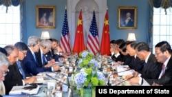 美国国务卿克里在美中战略与经济对话期间出席有关气候变化的会议 (2015年6月23日)