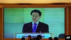 지난달 27일 유엔 인권이사회에서 기조연설하는 한국 다자외교조정관.