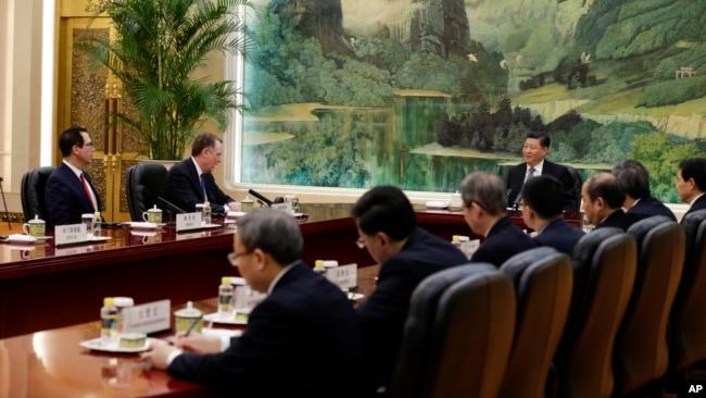 习近平在北京会见美国贸易代表团