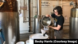 Becky Harris is in charge of the whisky-making process at her distillery, Catoctin Creek, in Virginia.