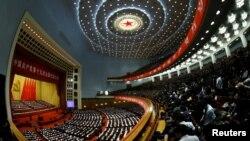 中共高官在北京人大会堂出席中共十九大。(2017年10月18日)