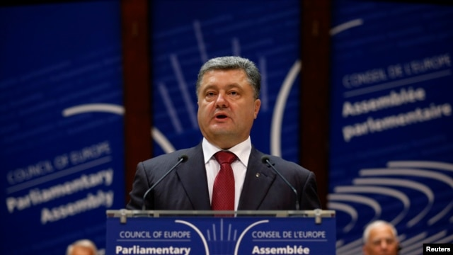 Ukraine's President Petro Poroshenko addresses the Parliamentary Assembly of the Council of Europe in Strasbourg, France, June 26, 2014.