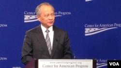 워싱턴에서 강연하고 있는 추이톈카이 주미 중국대사. (자료사진)