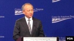 中国驻美大使崔天凯在美国进步中心发表讲话 (2014年2月20日,美国之音莉雅拍摄)