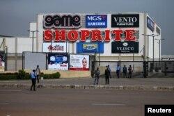Security men are seen at the gate of Jabi Lake mall in Utako, Abuja, Nigeria, Sept. 4, 2019.