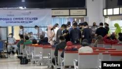 圖為印度尼西亞首都雅加達蘇加諾-哈達國際機場臨時設置的危機中心(2021年1月9日)
