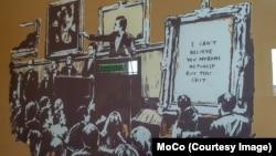 Banksy'nin Moronlar adlı eseri de Moco'da sergileniyor