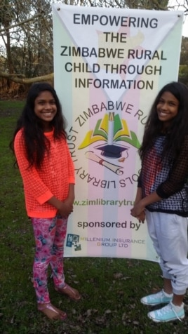 Two New Zealand 12 year-old twin sisters, Shefali and Shivani Sinha, have been nominated for the Shine-A-Light award by Genesis Energy - New Zealand's biggest energy provider - for supporting rural school library development in Zimbabwe.