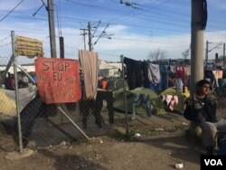 Families living in this camp in Idomeni, Greece, are genuinely confused why Europe, which largely welcomed refugees last year is now denying them entry, March 30, 2016. (Photo - H. Murdock/VOA)