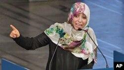 Nobel Peace Prize winner and human rights activist Tawakkol Karman of Yemen speaks at City Hall in Oslo, Norway, December 10, 2011.
