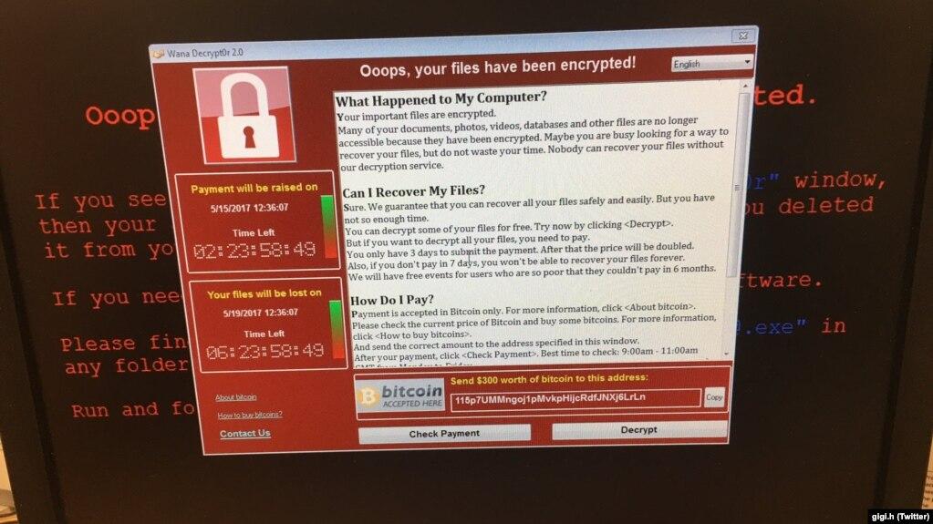 Hình ảnh cho thấy thông điệp tống tiền của phần mềm độc hại xâm nhập một máy tính
